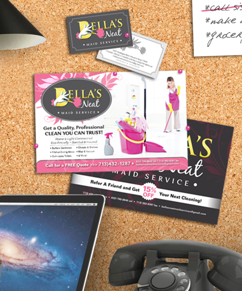 Bella's Neat Maid Service  |  Logo Development, Business Cards, Postcards